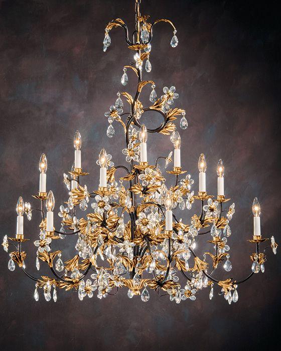 Wrought iron chandelier with italian glass flowers lighting wrought iron chandelier with italian glass flowers aloadofball Choice Image