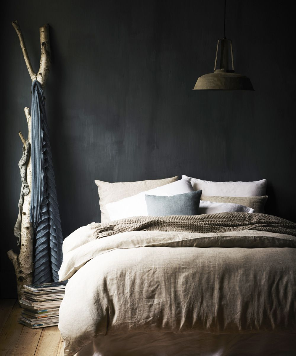 Charcoal Wall I Love Dark Walls In Bedrooms And The Branch Is