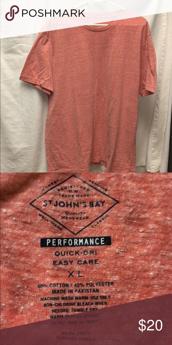 454b4d871728 Men's St John's Bay Performance shirt XL short sleeve Quick - dri 60% cotton  40% polyester Heathered orange color St. John's Bay Shirts Tees - Short  Sleeve