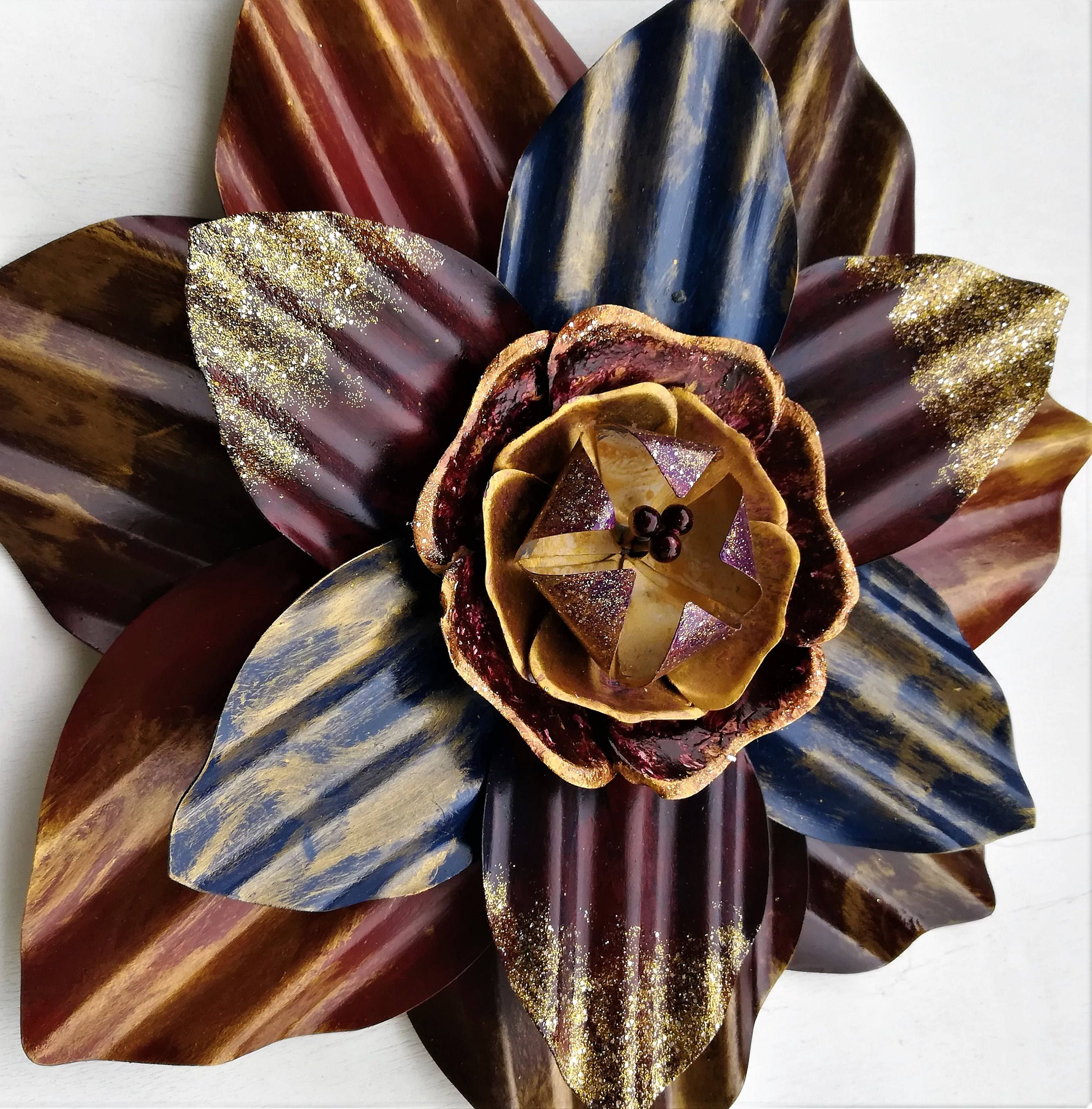 Metal Flower Wall Hanging Metal Flower Wall Decor Metal Decor Galvanized Metal Floral