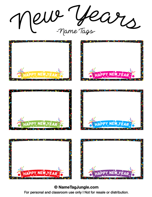 free printable new years name tags the template can also be used for creating items