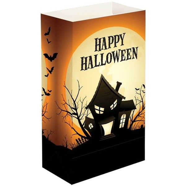 LumaBase 24-pk Happy Halloween Luminaria Bags (94 HRK) ❤ liked on - decorate halloween bags