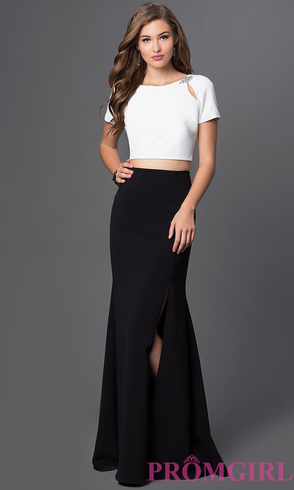 Long Two Piece Short Sleeve Dress By Mignon
