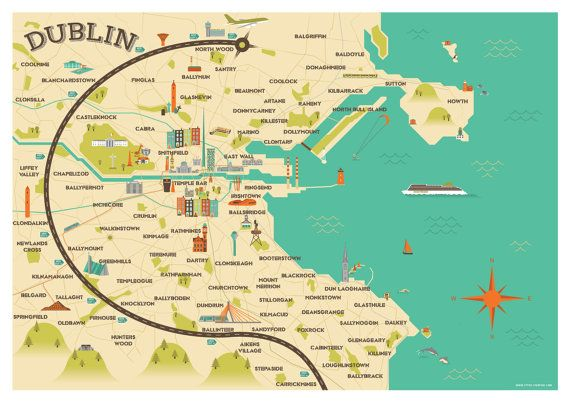Map Of Dublin Ireland Dublin Map Illustration by CitrusCreative on Etsy | IRELAND PICS