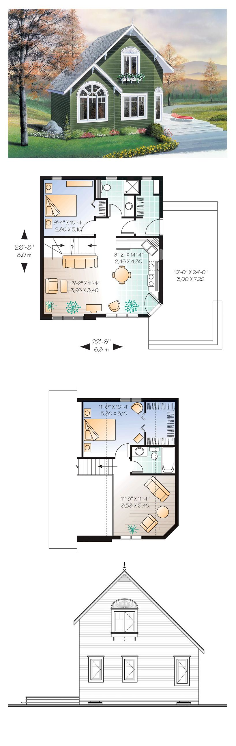 Narrow lot house plan 76168 total living area 991 sq for Narrow apartment plans