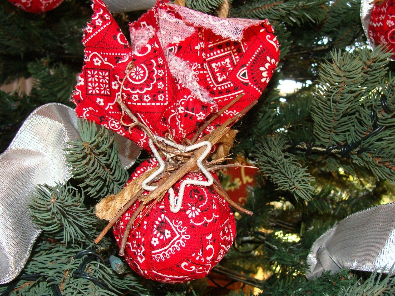 christmas ornaments country christmas bandana rustic tree ornaments 2000 via etsy - Primitive Christmas Tree Ornaments