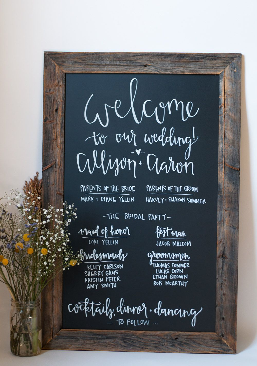 Items Similar To Chalkboard Wedding Program 23x35 Rustic Modern Custom On Etsy