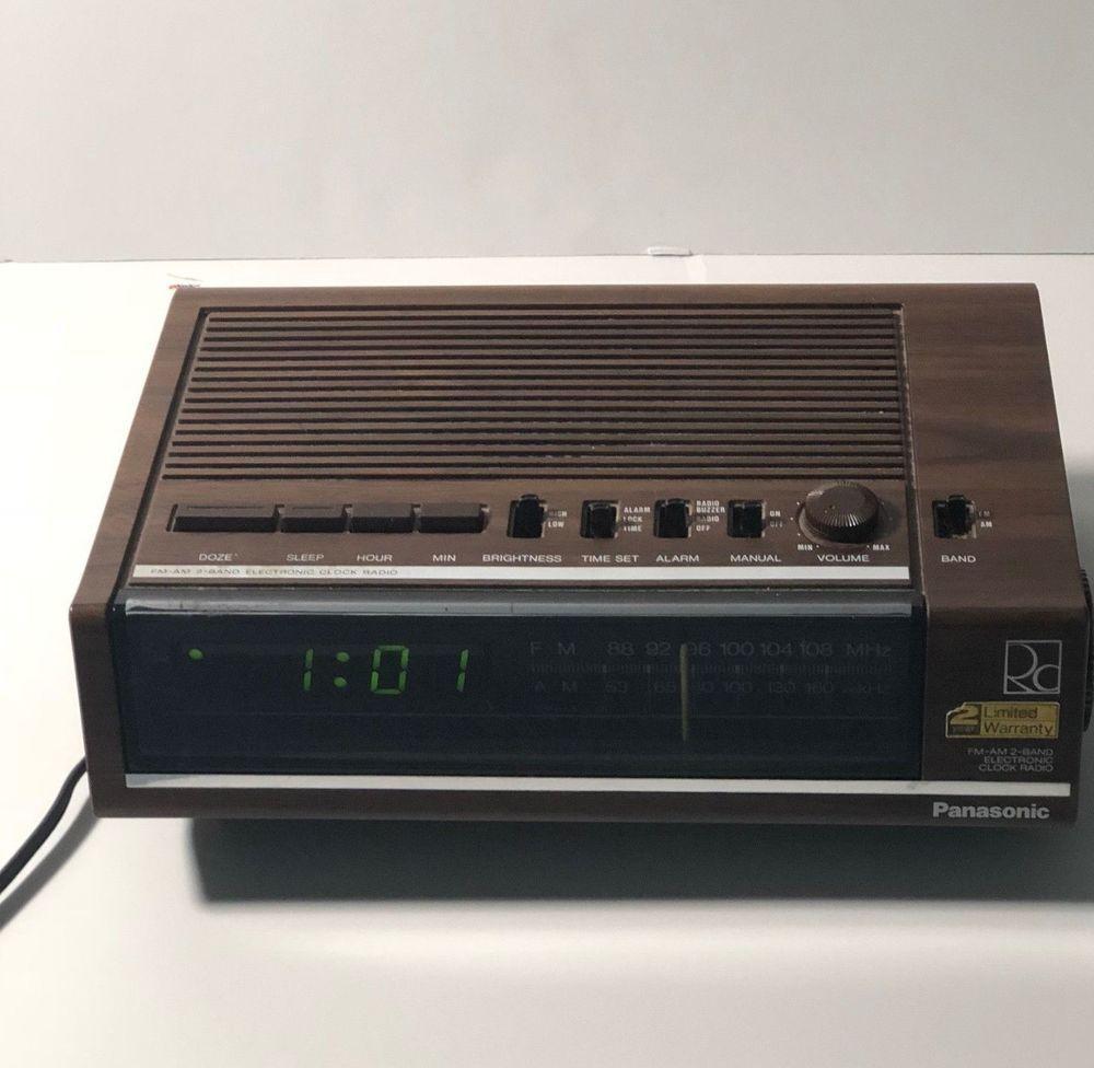 vintage panasonic rc 6050 digital alarm clock radio woodgrain green rh pinterest com