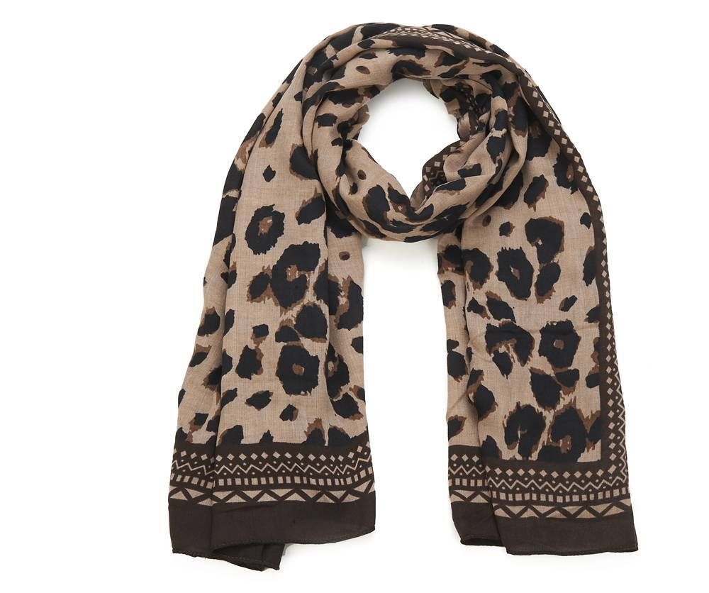 Women/'s Brown Black Leopard Print Scarf or Shawl