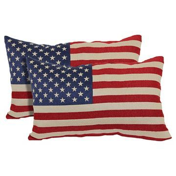 "Red American Flag Toss Throw Pillow 2 Pack (13""x21"