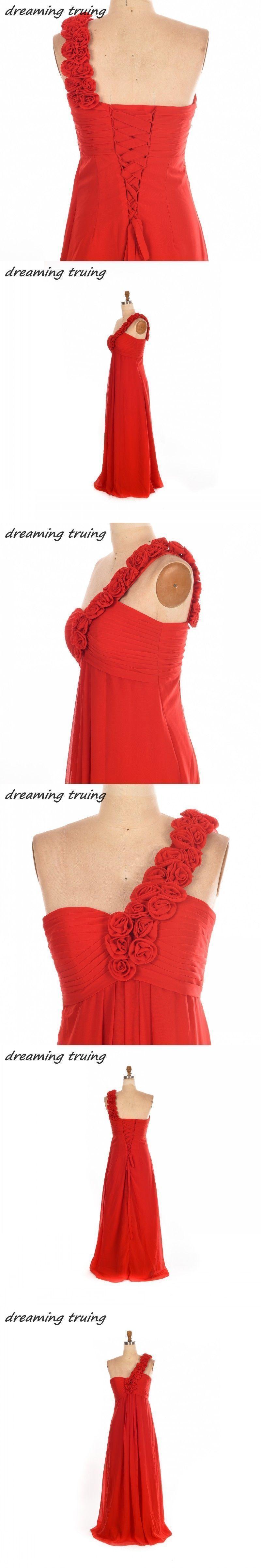 Real image cheap long chiffon red bridesmaid dresses sweetheart one
