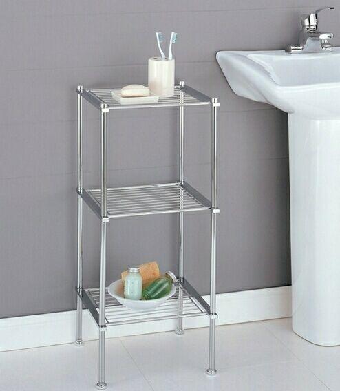 3 Tier Chrome Finish Metal Bathroom Accessory Shelf Freestanding Bathroom Storage Bathroom Storage Shelves Bathroom Shelf Decor