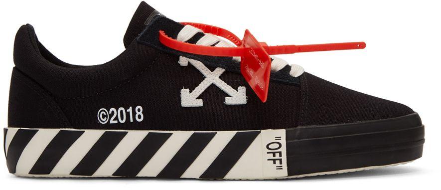 a0504735da52 Off-White - Black Striped Vulcanized Sneakers | Sneaker Nation in ...