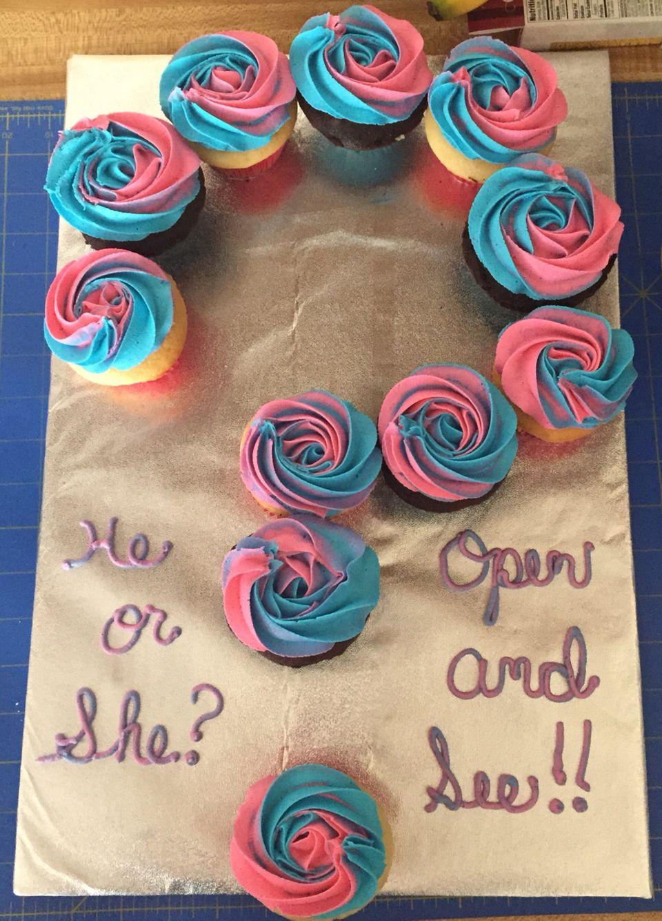 Gender Reveal Cupcakes Gender Reveal Cupcakes Baby Reveal Cupcakes Baby Gender Reveal Party