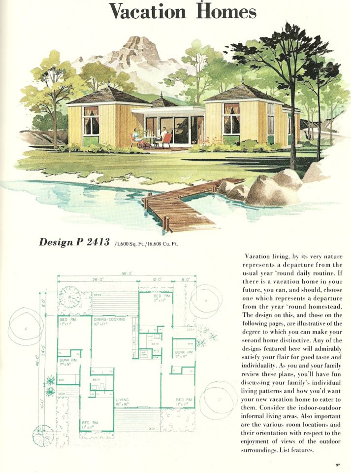 Vintage house plans vacation homes 1960s vacation homes for 1960 house plans