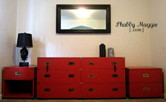 Vintage Red Henredon Bedroom Set  Campaign Style by ShabbyMaggie, $1395.00