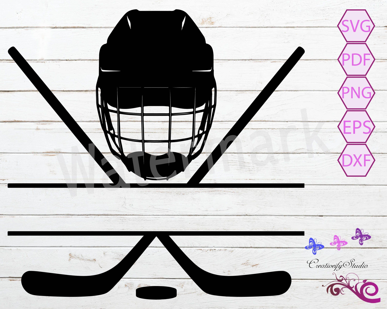 Hockey Split Monogram Svg Hockey Stick Hockey Helmet Play Hockey Puck Svg Ice Hockey Hockey Team Hockey Mom Digital Download Hockey Helmet Hockey Stick Ice Hockey