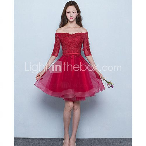Short / Mini Tulle Bridesmaid Dress - Lace-up A-line Off-the-shoulder with Sash / Ribbon - USD $69.99