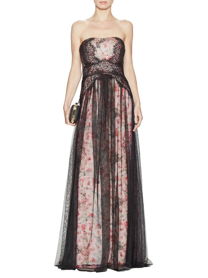 Floral & Lace Strapless Gown