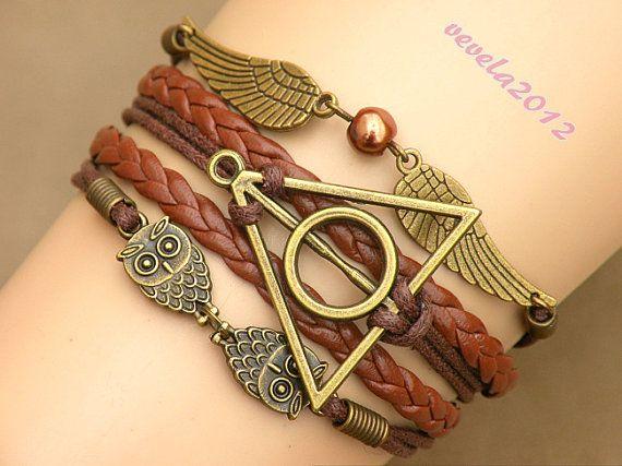 harry potter bracelet Infinity bracelet owl wing by vevela2012, $3.99