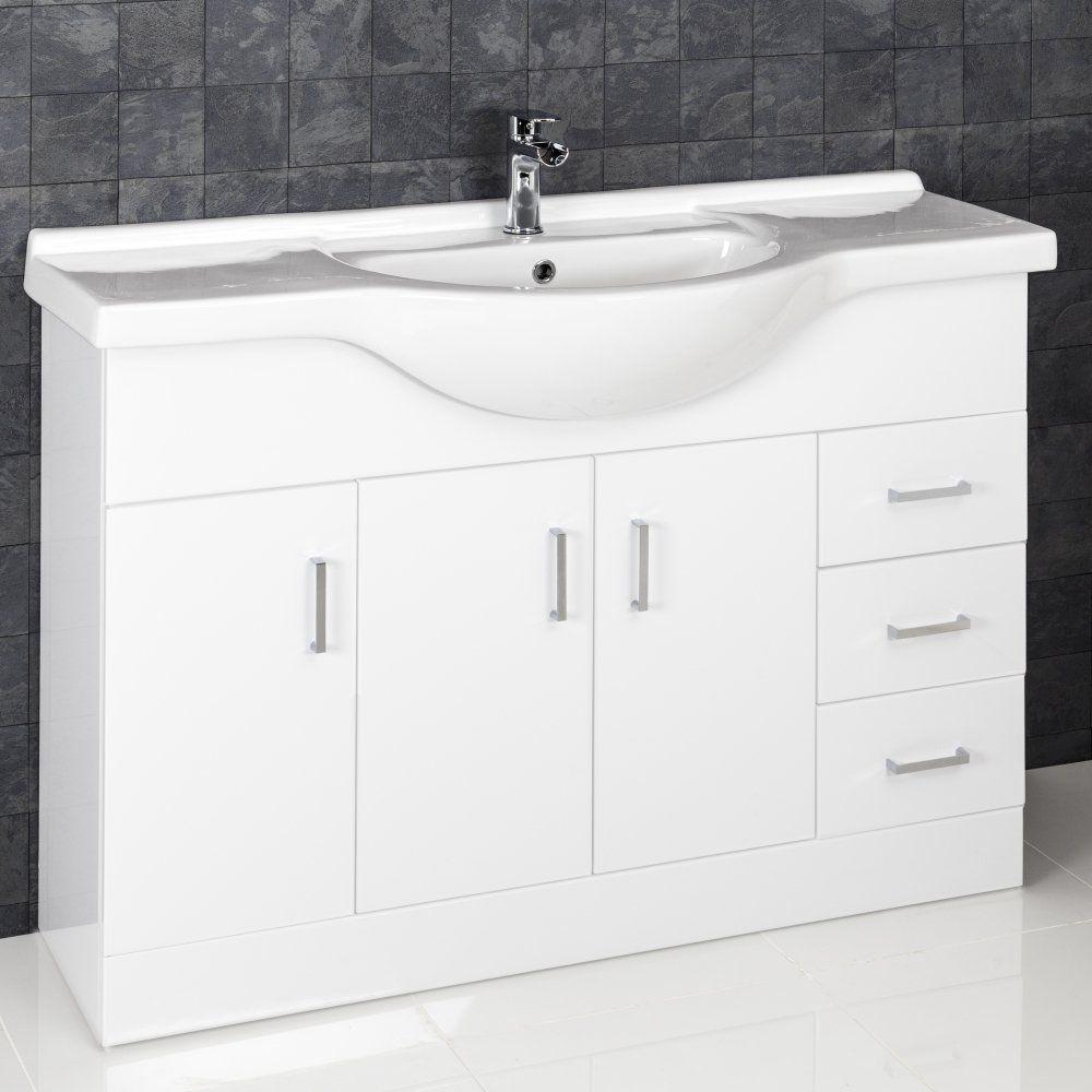 Essence White Gloss Bathroom Sink Cabinet Basin 1200mm Width