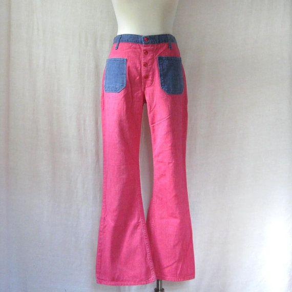 Vintage 70s Wrangler Blue Bell Flares pink cotton pants mNYz4
