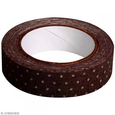 Fabric tape thermofixable - marron pois blancs - 15 mm x 5 m #fabrictape