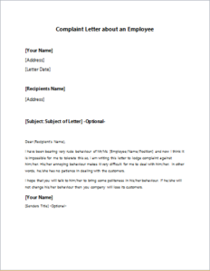 Complaint letter about an employee download at httpwriteletter2 complaint letter about an employee download at httpwriteletter2 complaint letter about an employee expocarfo