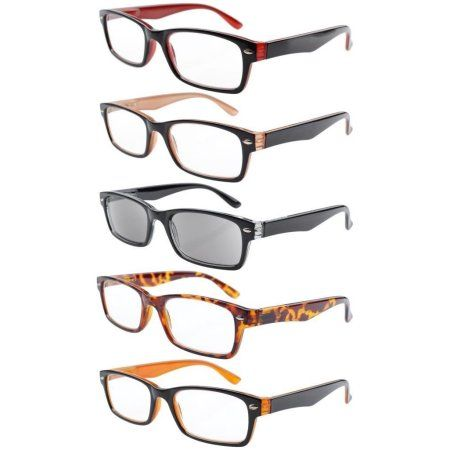 6232dbdd8aa 5-Pack Spring Hinge Temples Fashion Reading Glasses Include Sun Readers  +2.25