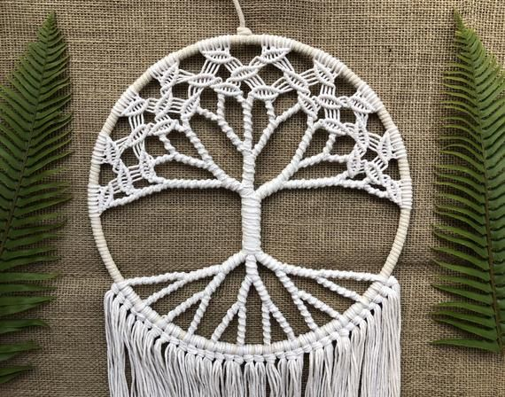 Original World Tree / White Tree of Life Macrame Wall Hanging / Birthday Gift / Christmas Gift / for #wiccandecor