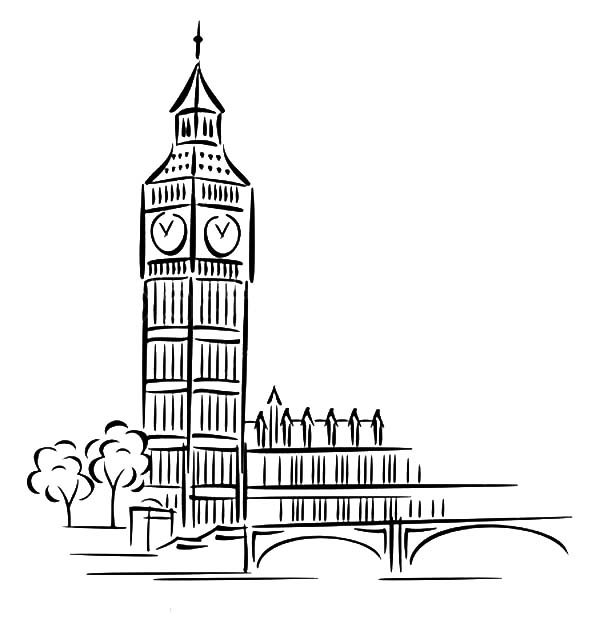 The Most Popular Landmark In London Big Ben Coloring Page Coloring Sun London Drawing Big Ben Drawing Easy Drawings