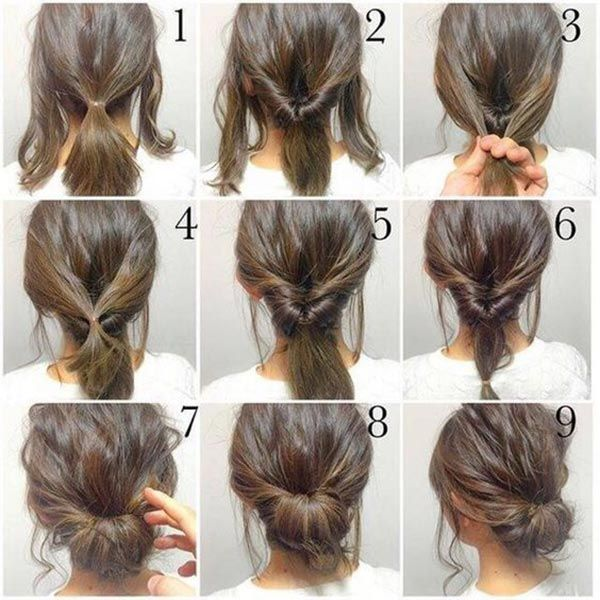Messy Half Bun Topknot For Short Or Medium Hair