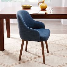 Mid Century Upholstered Dining Chair Wooden Legs Perabot
