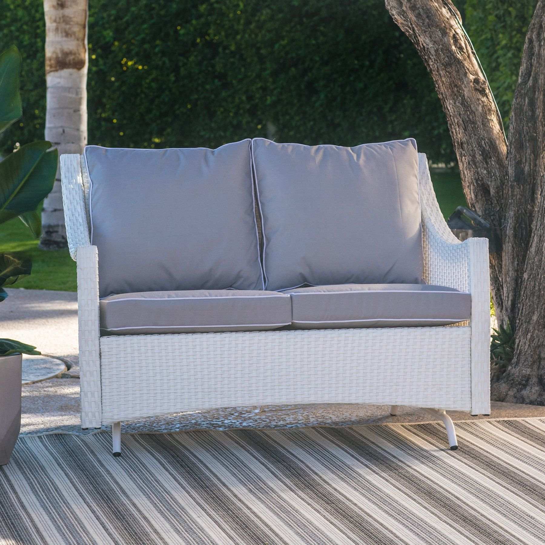 Outdoor Belham Living Lindau All Weather Wicker Patio Loveseat Glider With  Cushion   White   LV