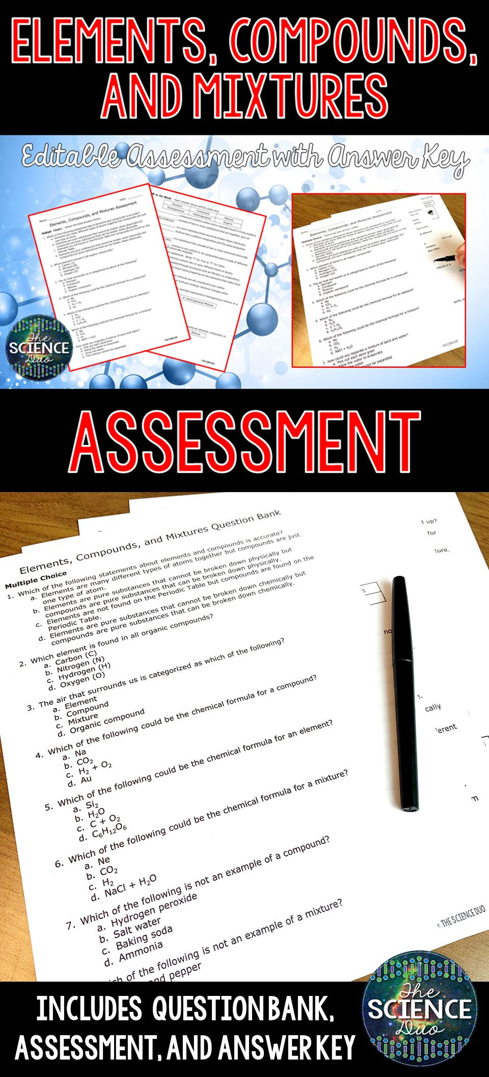 5 Elements Compounds And Mixtures Worksheet Answer Key In 2020 Science Assessments Compounds And Mixtures Elements Compounds And Mixtures