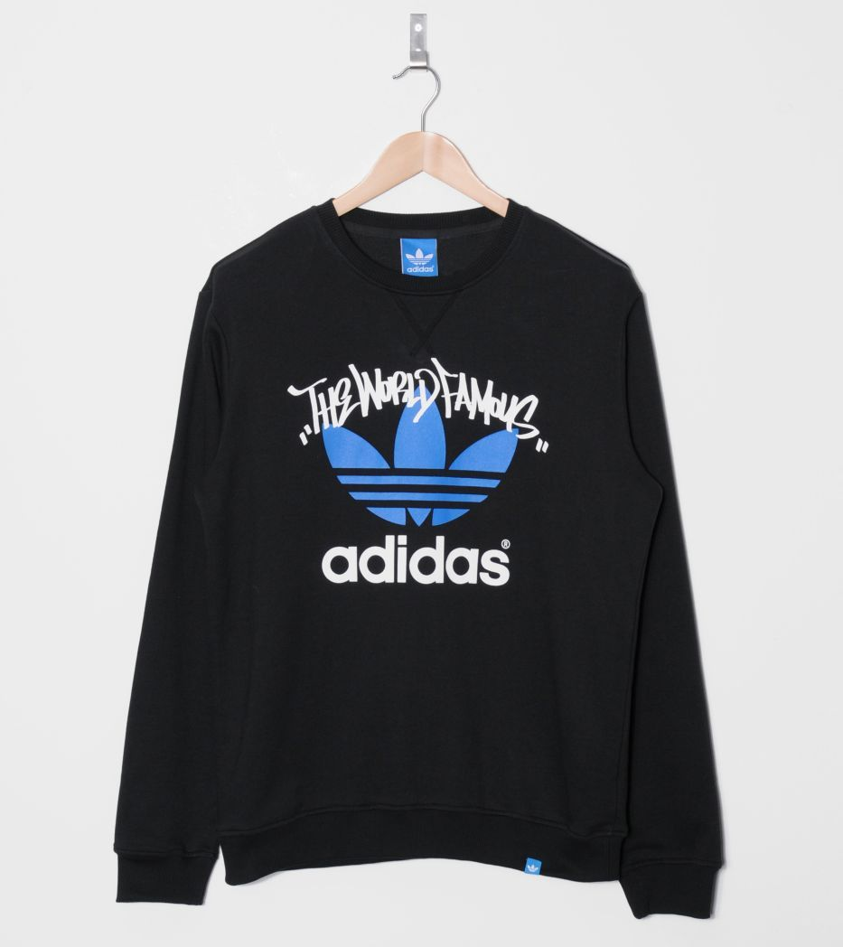 Size Adidas Originals World Famous Crew Sweat Graphic Sweatshirt My Style Style