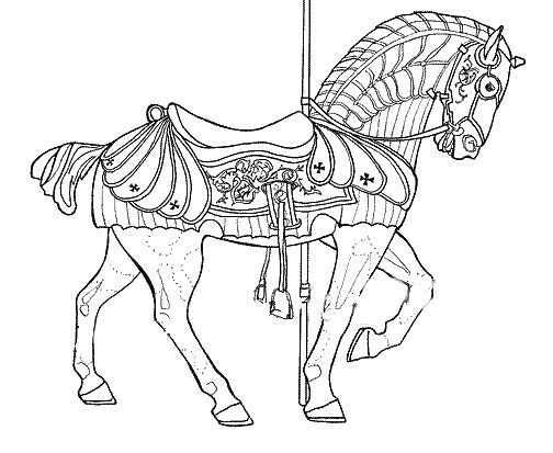 Pretty Carousel Horse Coloring Pages