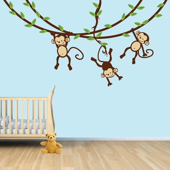 4 Cute Monkeys Wall Decals Sticker Nursery Decor Mural: These Monkeys Look Sweet And Fun For A Nursery Or Kids