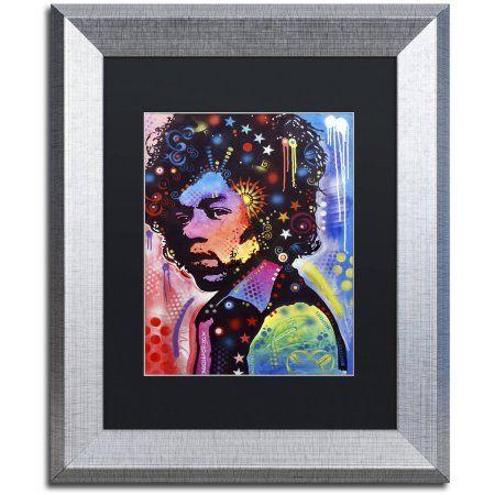 Trademark Fine Art Jimi Hendrix IV Canvas Art by Dean Russo, Black Matte, Silver Frame, Size: 16 x 20
