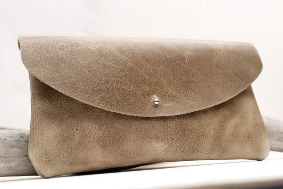 Taupe Leather Clutch Bag Oiled By Justwander
