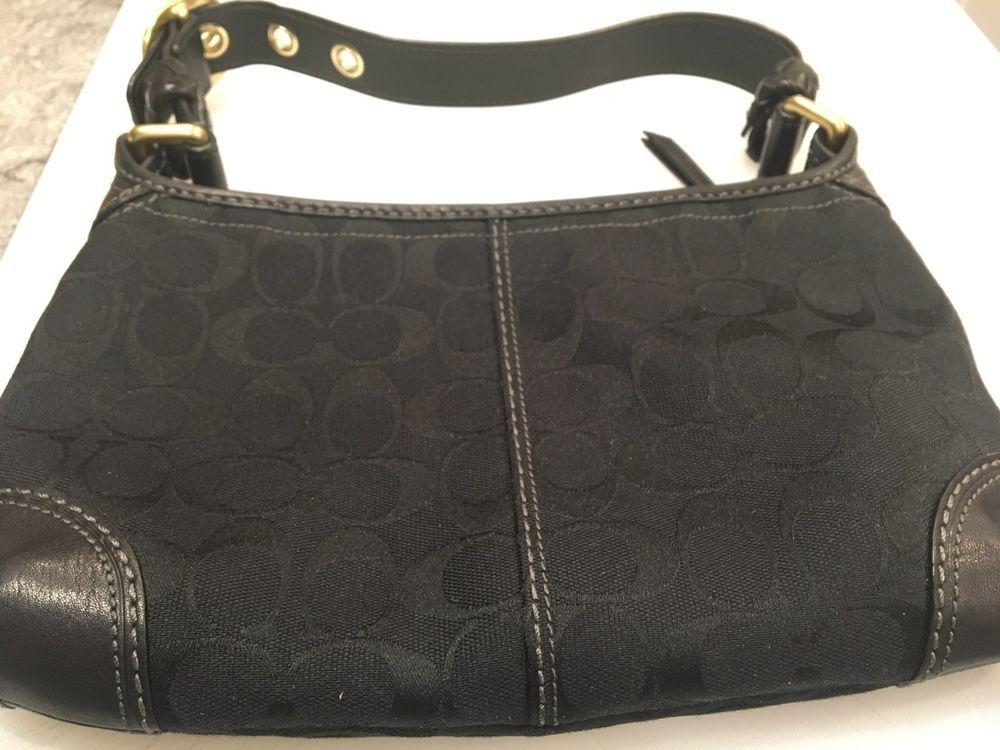 bdcd875dea2b81 Coach Purse-Black Signature Canvas  Adjustable Strap  Zippered Top Closure   fashion