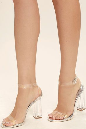 34a412a8c17 Sexy Clear Heels - Lucite Heels - Block Heels - Silver Heels -  45.00