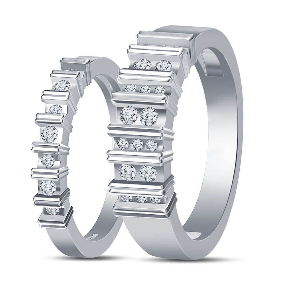 White Platinum Plated 925 Sterling Silver His & Her