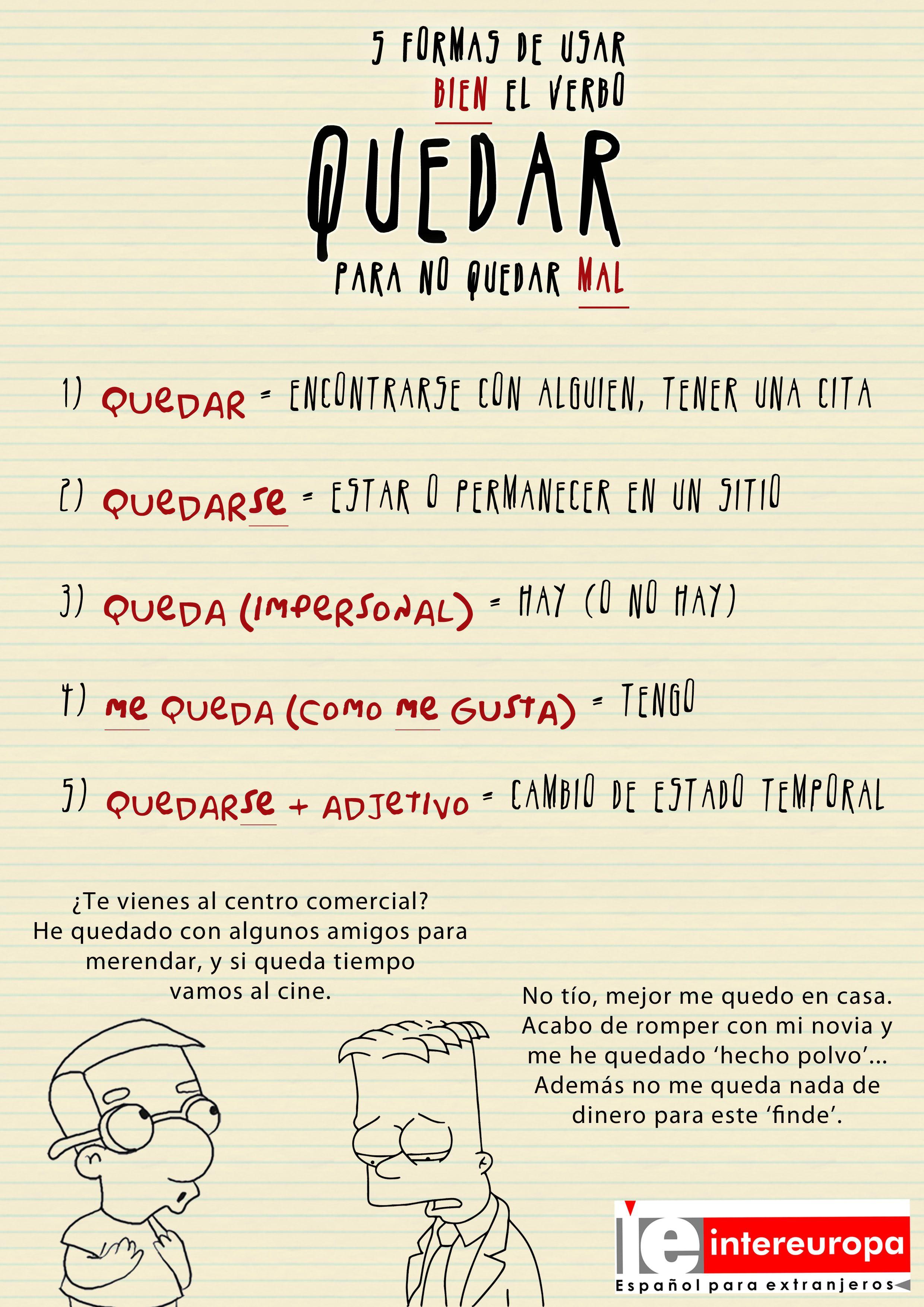 Dificultades del verbo quedar clase de espa ol How do you say dab in spanish