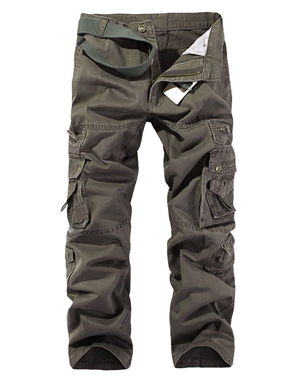 best service 030e0 fdcd2 Vintage Homme Style Militaire Cargo Sports De Combat Casual Pantalon Multi  Poches, Armée Verte 1