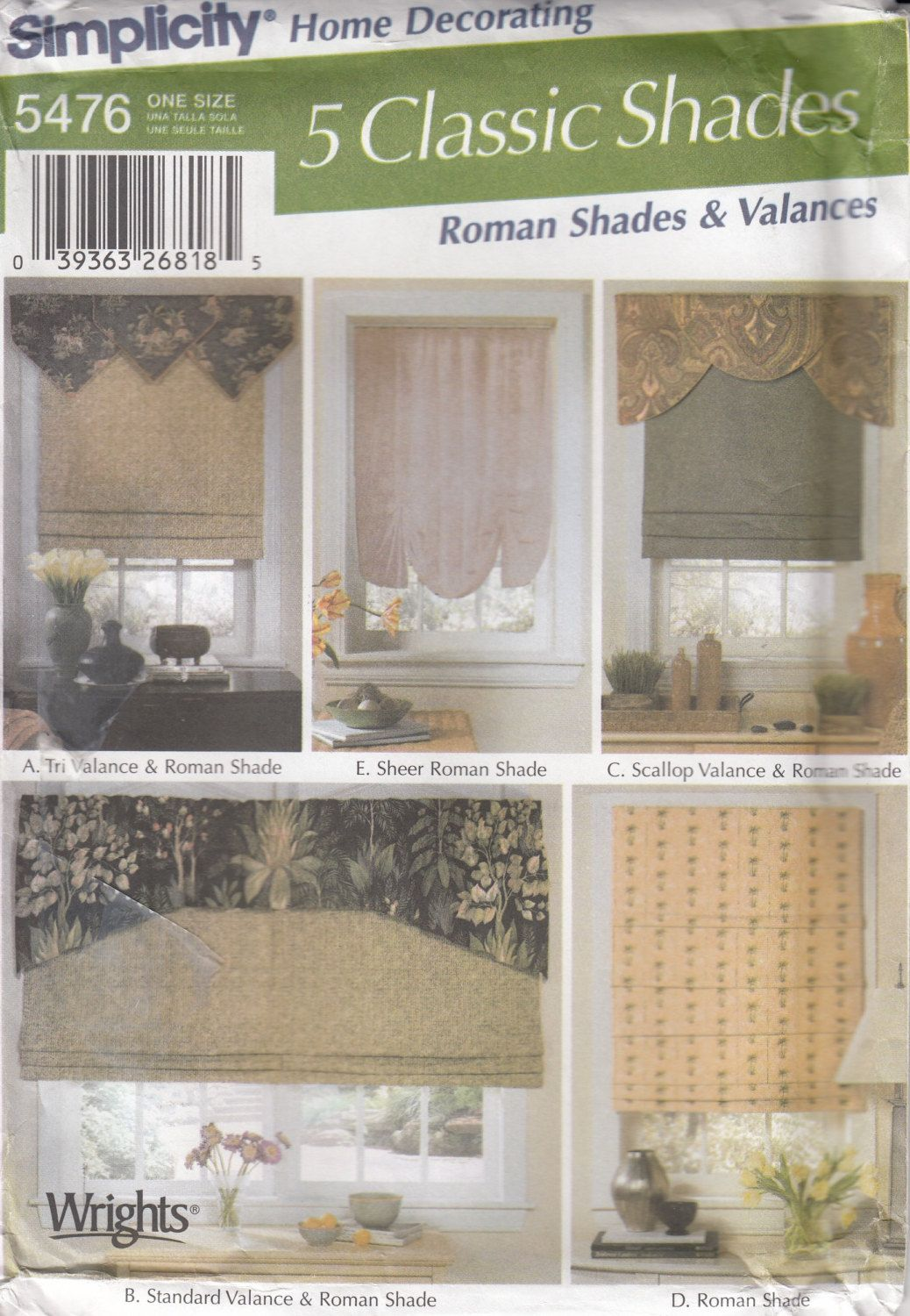Beau Simplicity 5476 Window Treatments Sewing Pattern   Romans Shades U0026 Valances Sewing  Pattern   Home Decor