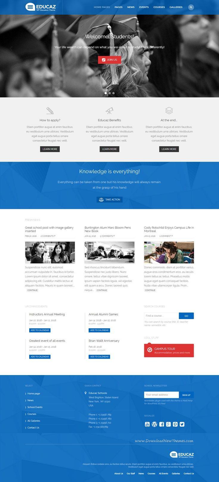 Educaz Wp Academic Education Theme University Website College Website School Website