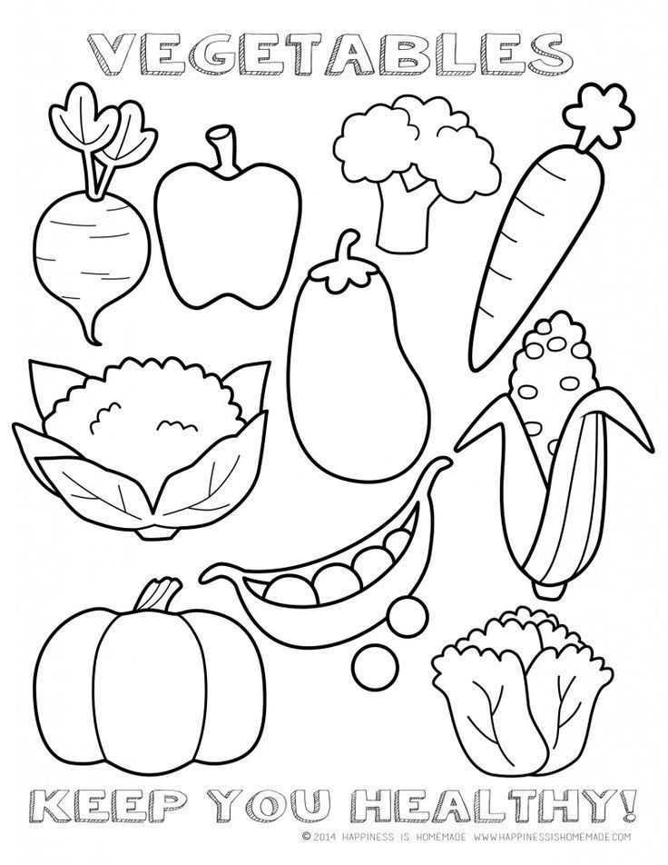 Healthy Vegetables Coloring Page Sheet - printable  - new hidden alphabet coloring pages
