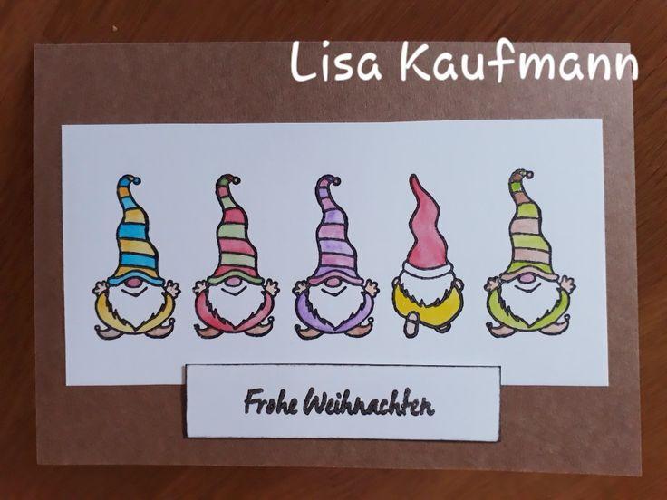 wichtelweihnachtskarte mit designkarton braun  weiß