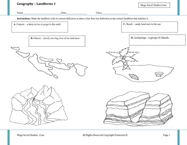 Printable Landform Worksheets | Landforms for Kids - Canyon ...